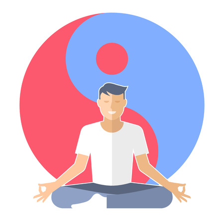 Young man meditates in the lotus pose. Male character is sitting on the yin-yang sign background. Flat vector concept illustration of yoga, zen, and relaxation. Design element for buddhism infographic Illustration
