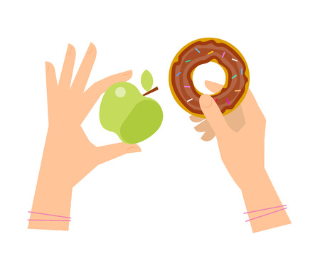 junkfood: Female hands are holding an apple and a donut. Flat concept illustration of choice between healthy food and fastfood. Isolated vector elements for diet and healthcare infographics, presentations, web.
