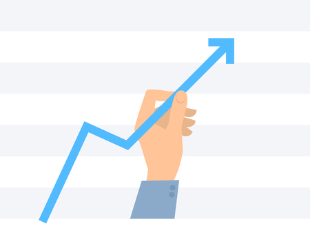 Businessman holds and pulls arrow graph to increase income. Flat concept illustration of progress and success. Hand lifts a blue growth arrow to improve business, profit. Vector infographics element. Illustration