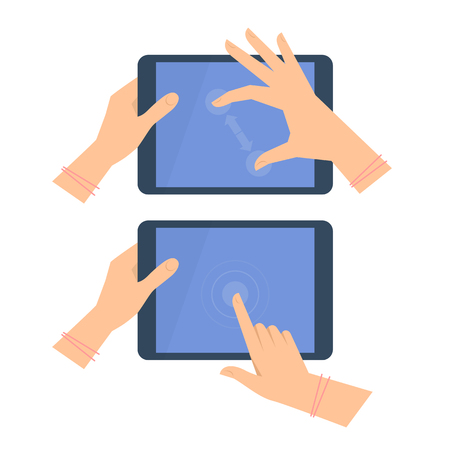 Various gestures of female hand with tablet screen. Vector flat illustration of womans hands, portable PC, pad with interactive multitouch display. Vector design element for infographic, presentation Illustration