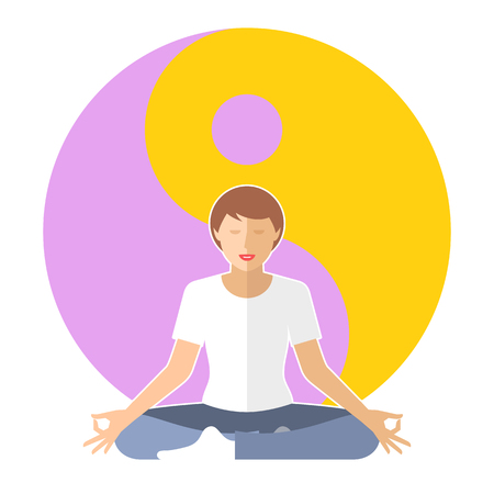 meditates: Young woman meditates in the lotus pose. Female person is sitting on the yin-yang sign  . Flat vector concept illustration of yoga, zen, relaxation. Design element for buddhism infographic.
