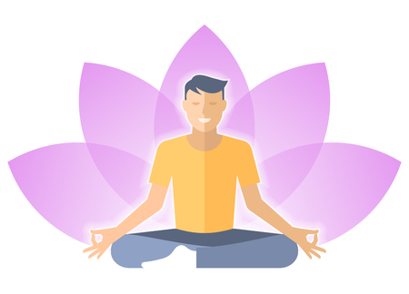 meditates: Young man meditates in the lotus pose. Male person is sitting on a lotus flower sign  . Flat vector concept illustration of yoga, harmony, relaxation. Design element for  infographic. Illustration