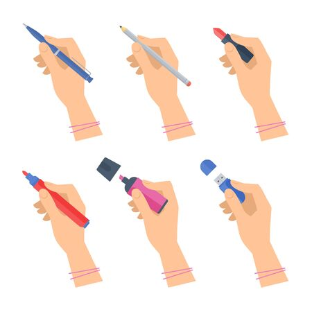 Women's hands with writing tools and office supplies set. Flat illustration of human female hands with pen, pencil, highlighter and over stationery. Vector isolated  design element.
