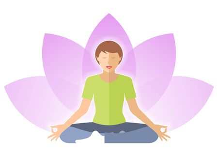 Young woman meditates in the lotus pose. Female person is sitting on a lotus flower background. Flat vector concept illustration of yoga, harmony, relaxation. Design element for hinduism infographic.
