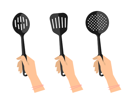 Female hands with kitchen utensils: slotted spoon, spatula and skimmer. Flat illustration of kitchenware  and cooking tools. Vector element for web design and inforaphics. Illustration