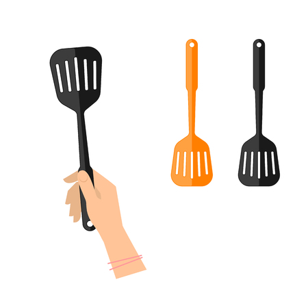 slotted: Female hand is holding slotted spatula. Flat illustration of kitchen and cooking utensils. Vector element for web design and inforaphics.