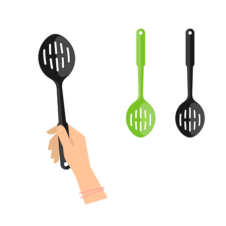 skimmer: Female hand is holding slotted spoon. Flat illustration of kitchen and cooking utensils. Vector element for web design and inforaphics.