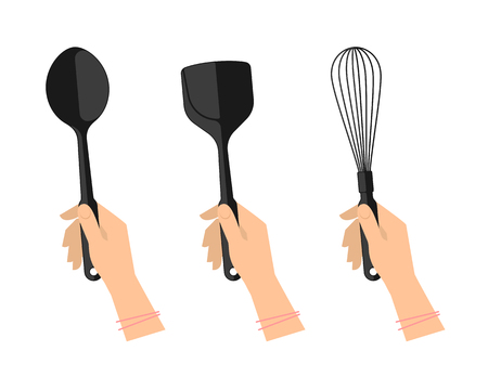 Female hands with kitchen utensils: ladle, spoon, spatula and whisk. Illustration