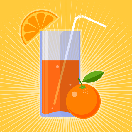 tubule: Healthy and fresh food: an orange and glass of juice. Natural eating and drinking flat concept illustration of fruit and beverage.