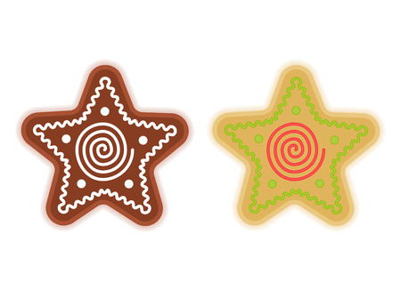 christmas cake: Traditional xmas cookies symbols: star. Flat illustration of christmas winter holiday sweet baked treats. Illustration