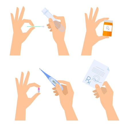 Hands are holding medical things: thermometer, pill, prescription, tablet, test-tube. Illustration