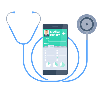 doctor tablet: The stethoscope and smart phone with medical history on the screen. Healthy and Modern medical digital technology concept. Illustration