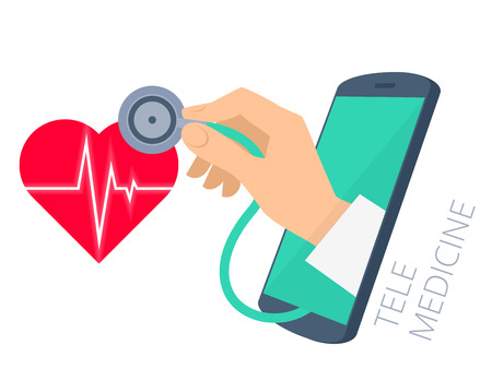 phonendoscope: Red heart shape with pulse line, doctors hand holding a stethoscope through the phone screen checking heartbeat. Tele, online, remote medicine flat concept illustration. Vector isolated design.