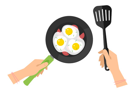 Female hands with cooking pan with scrambled eggs and black slotted spatula. Flat concept illustration of kitchen food fry, roast tools and omelette. Vector elements for web design, cook infographic.