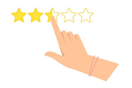 Woman's hand is pointing at one of five stars. Feedback, evaluation and rating flat concept illustration. Vector infographic element for web design, presentations and social networks.