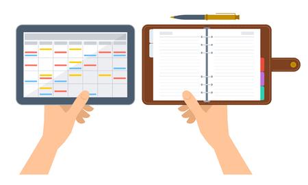 Las manos están sosteniendo organizador y planificador electrónico y de papel. Ilustración de concepto plano de la agenda digital en la pantalla de la tableta y el diario de negocios con la cubierta de cuero. Horario de vector aislado en blanco. Foto de archivo - 75487627