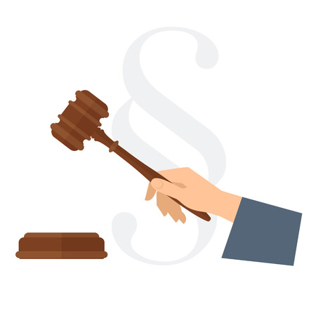 Judge's hand holding wooden gavel. Law concept flat illustration of human hand with wood hammer, court brown mallet. Vector design element isolated on white for presentation, web, justice infographic. Иллюстрация