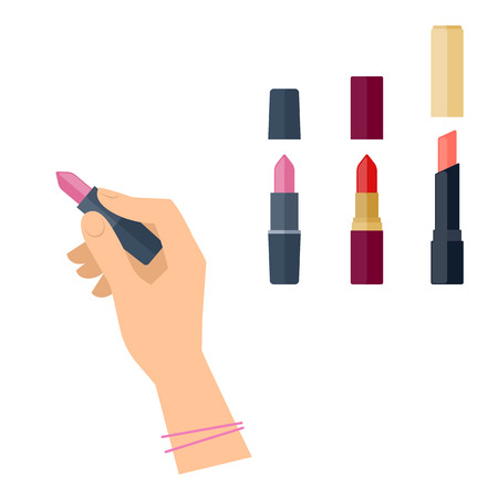 Womens hand with cosmetic product: lipstick tube. Flat illustration of female hand with cosmetical accessories. Vector isolated on white background fashion and makeup design elements.