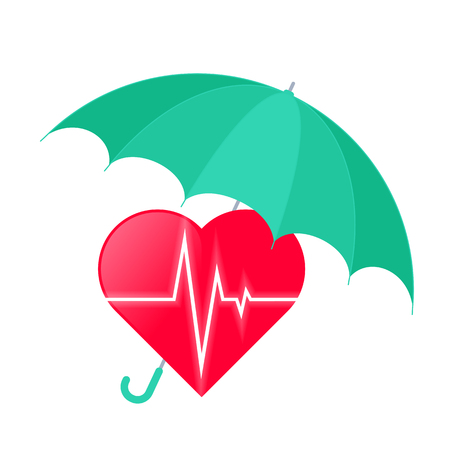Umbrella protects heart. Medicine and health care flat concept illustration of red heart shape with heartbeat pulse line. Vector element for medical and healthcare infographic and design. Illustration