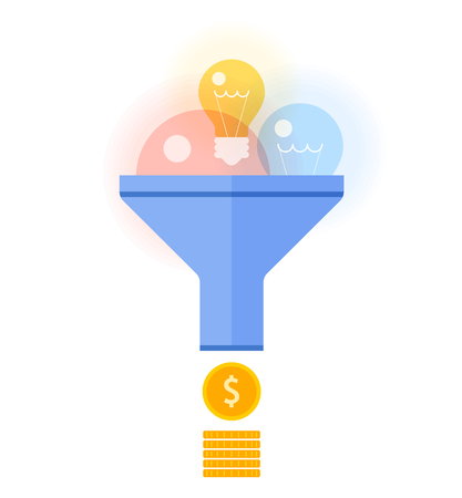 converts: Funnel flow converts bulbs to money concept. Flat illustration of transform ideas, inspiration and innovations to income. Vector design elements for business presentations, web, social networks.