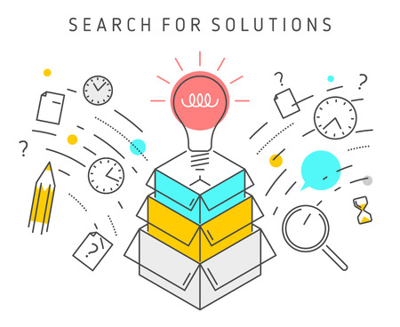 Vector flat line solution concept illustration represent process of solving a problem. Solution vector conceptual image depict searching for solutions, ideas, analysis, strategy and thinking.