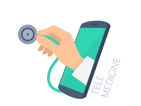 Doctor's hand holding a stethoscope through the phone screen checking pulse.