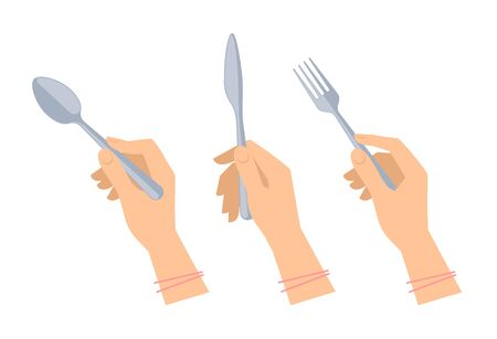 Female hands with cutleries: steel spoon, fork and knife. Flat illustration of kitchenware and silverware. Vector elements for web design, social networks and inforaphics.