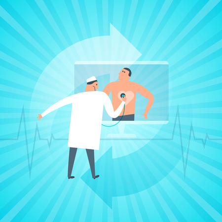 Doctor exams patients heartbeat remotely by computer. Online, tele medicine flat concept illustration.