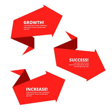 Growth, increase, success business arrow. Red graphs depict improve business. Flat concept illustration of up arrows. Vector template elements for infographic, web, presentation, social networks.