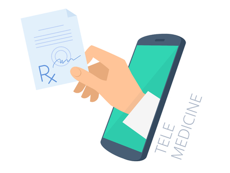 Doctor's hand holding rx through the phone screen giving the prescription to patient. Tele, online medicine flat concept illustration. Vector design infographic element isolated on white background.