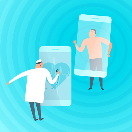 Doctor exams patients heartbeat by phone. Online, tele medicine flat concept illustration. Medic with stethoscope listens heart at smartphone screen. Telemedicine, telehealth vector design element.