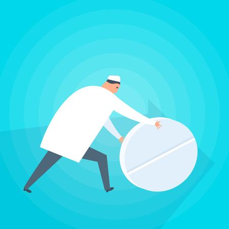 Doctor gives a patient a tablet. Medicine, Health care flat concept illustration. Medic with pill treats the disease. Medical, healthcare vector design element for web, social networks, presentation. Ilustração