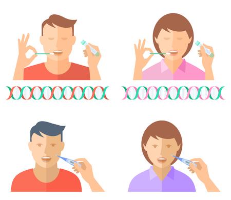 Mano tomando una muestra de fluidos corporales para la prueba de ADN de un hombre y una mujer jóvenes. La mano sostiene el termómetro digital y mide la temperatura de una niña y un niño. Ilustración de vector plano de concepto. Ilustración de vector