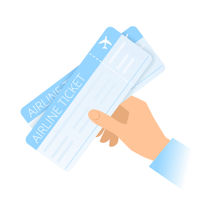 A human hand holds an airline tickets. Air travel and tourism, Purchase of tickets flat concept illustration. Vector material design element isolated on white background.