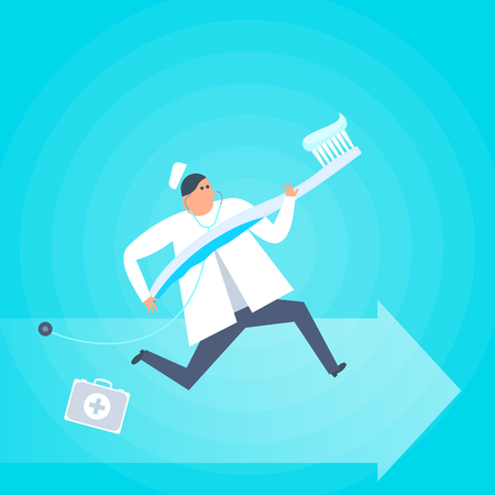 Doctor with a toothbrush runs to a patient. Dental, hygiene, health care flat concept illustration. Dentist and tooth brush with toothpaste. Medicine, healthcare, treatment, vector design element. Illustration