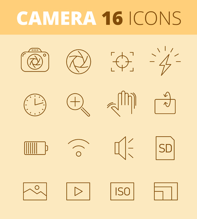 Digital photo camera outline icons: flash, timer, optical stabilizer, iso, battery, memory card, sensor resolution. Vector thin line symbol and pictogram set. Infographic elements for web, networks. Vecteurs
