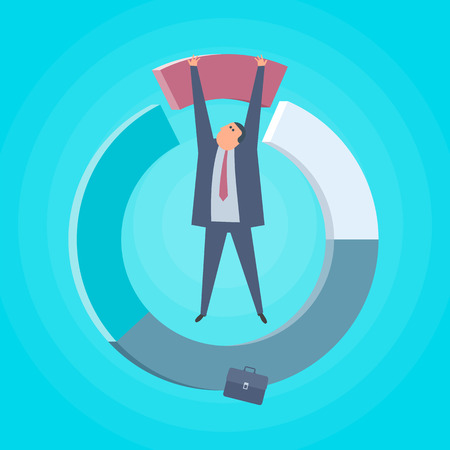 Businessman with chart diagram. Increase business and finance flat concept illustration. Man and round diagram. Business strategy, investment, wealth, management and marketing vector design element.