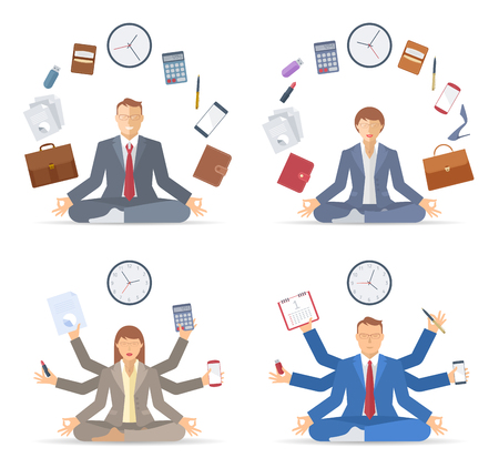 Businessman and businesswoman meditates in the lotus pose in the workplace. Managers sitting in the meditation. Mutlitasking and time management flat vector concept illustration. Infographic element. Illusztráció