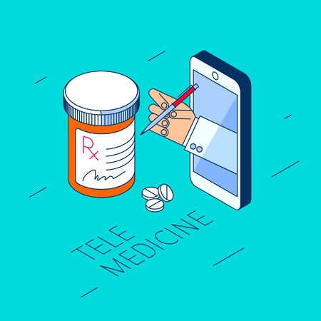 Doctor's hand holding pill bottle. Through the phone screen giving drugs, cure to patient. Isometric 3d flat line concept illustration. Vector element for tele, online medicine design, infographic. Vektorové ilustrace