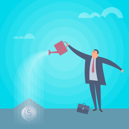 Businessman is watering coin dollar to grow money tree. Increasing and growth business flat concept illustration. Man with water can pours money. Profit, income, improve business vector design element