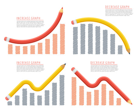 Recession, growth, decline, reduction, downward, success of business. Flat concept illustration. Pencil graph arrows depict increase, decrease business. Vector infographic for web, presentation.