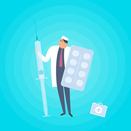 Doctor with syringe and tablets. Medicine, healthcare flat concept illustration. Medic protects patient health with pills, vaccine injection, cure and drug. Health care vector design element for web.
