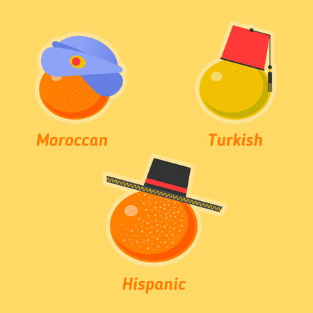 Vector flat illustration of various sorts of tangerines. Tropical healthy tasty citrus fruit icons. Sweet moroccan, turkish and hispanic mandarines symbols. Import and expotr food concept.