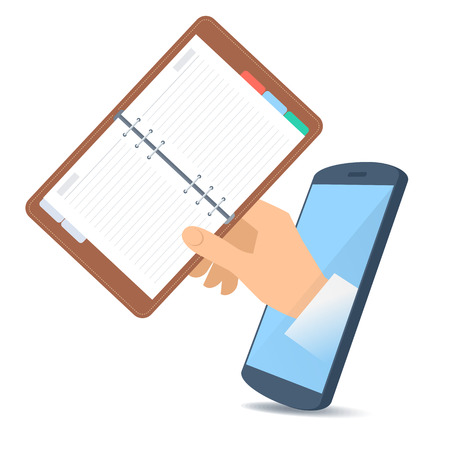 A human hand through the mobile phone's screen holds a schedule planner. Technology, time management and smart phone apps flat concept illustration. Vector design element isolated on white background. Illustration