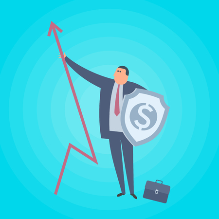 Businessman with increase arrow and shield. Business protection flat concept illustration. Man with growth arrow graph protects company. Corporate, saving, management, marketing vector design element.