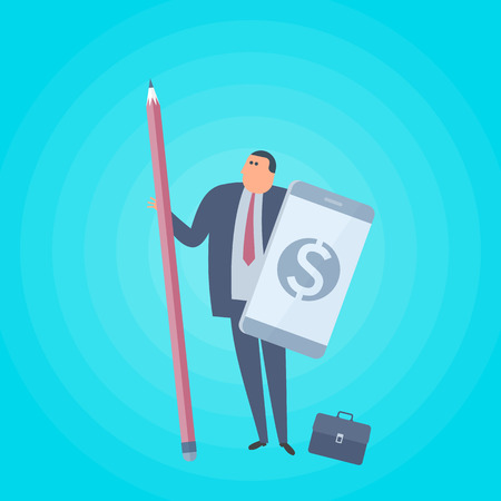 Businessman with pencil and smart phone as a shield. Business protection flat concept illustration. Man protects company and saves money. Corporate, accounting and management vector design element. Ilustração