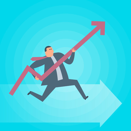 Businessman runs with increasing graph arrow. Business success flat concept illustration. Man, growth arrow as a symbol of advance in management. Profit, income, improve business vector design element