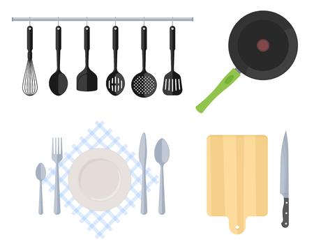Couverts, ustensiles de cuisine en acier et ustensiles de cuisine. Illustration vectorielle plane d'outils de cuisine. Poêle à frire, spatule à fentes, fouet, passoire, fourchette, cuillère, couteau de table, planche à découper en bois et couteau.