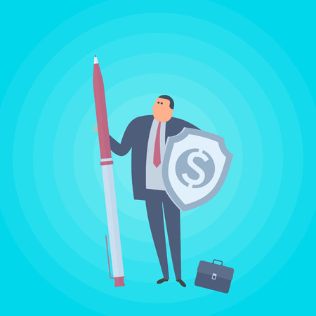 Businessman with pen and shield with dollar sign. Business protection flat concept illustration. Man protects company and saves money. Corporate, saving, management, marketing vector design element.