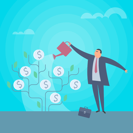 Businessman is watering money tree to grow business. Increasing and growth business flat concept illustration. Man with watering can pours money. Profit, income, improve business vector design element